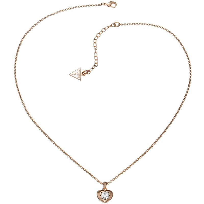Ladies Guess Rose Gold Plated Crystals Of Love Necklace UBN51421