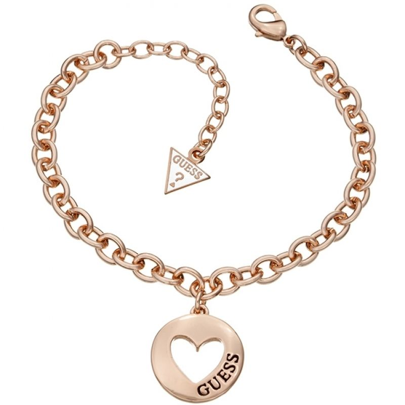 Image of  			   			  			   			  Ladies Guess Rose Gold Plated G Girl Coin Heart Bracelet
