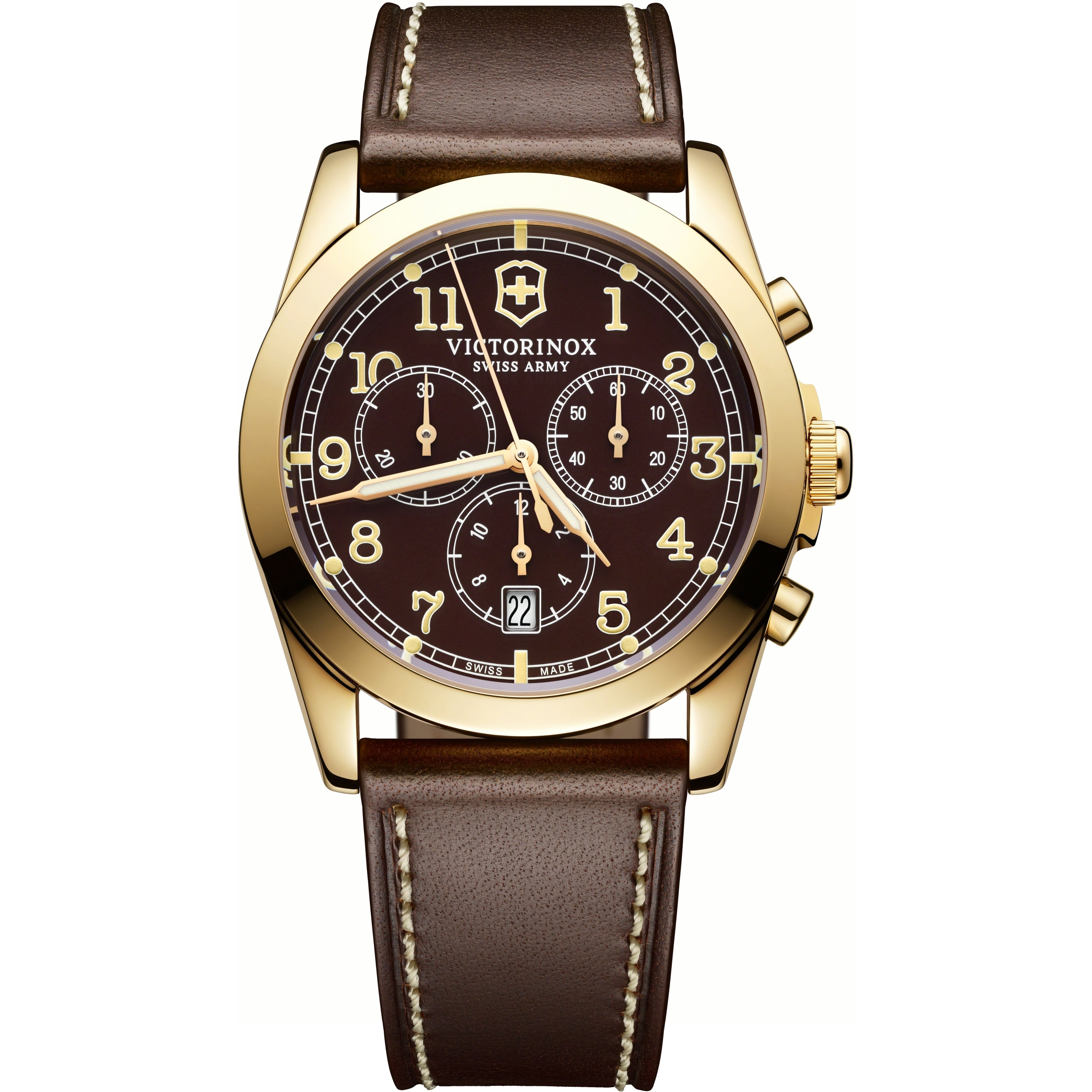 chrono swiss army leather s shipping quartz men classic mens today gold watch strap watches free brown jewelry overstock product dial