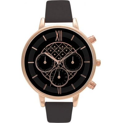 Chrono Detail Black & Rose Gold Watch