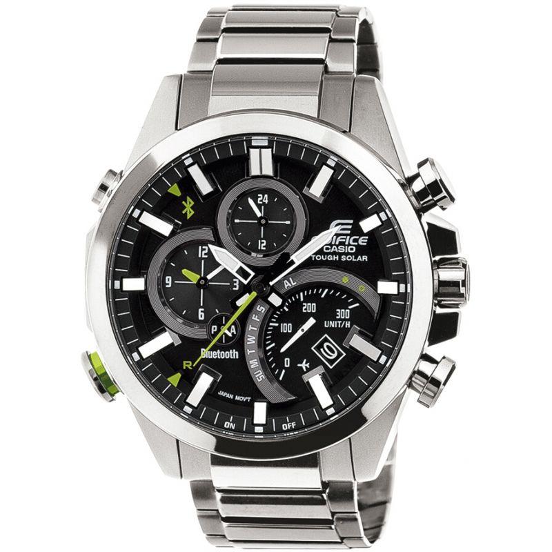 Mens Casio Edifice Time Traveller Bluetooth Hybrid Smartwatch Alarm Chronograph Watch