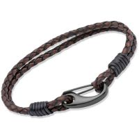Mens Unique & Co Black Ion-plated Steel Antique Brown Leather Bracelet 23cm B86ADB/23CM