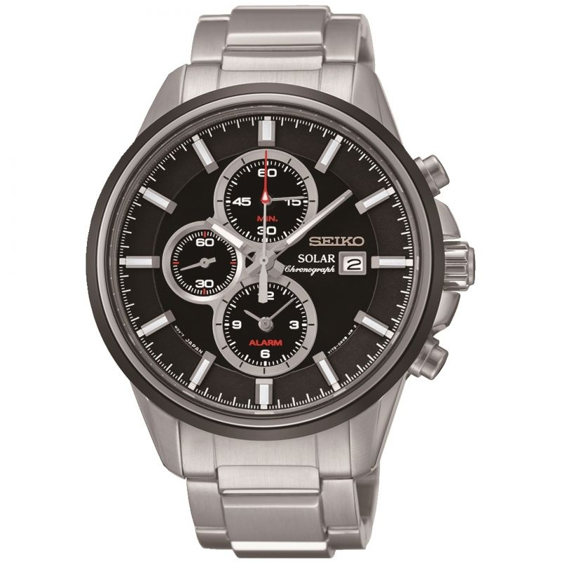 Mens Seiko Sports Alarm Chronograph Solar Powered Watch