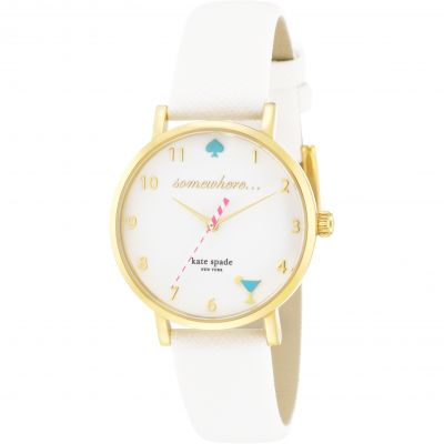 Kate Spade New York Metro 5 oclock somewhere Damenuhr in Weiß 1YRU0765