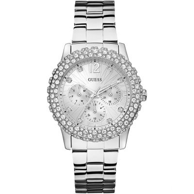 GUESS Ladies silver bracelet watch with crystal details