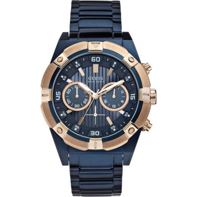 GUESS Men's blue bracelet watch with rose gold details