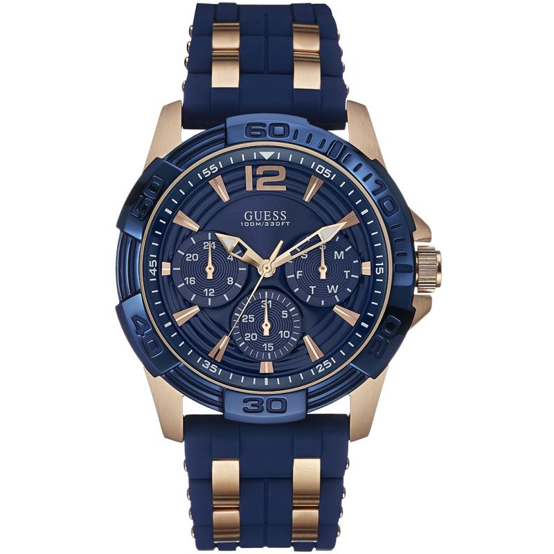 GUESS Men's blue textured silicone strap watch