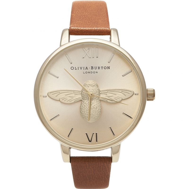 Image of            3D Bee Gold & Tan Watch