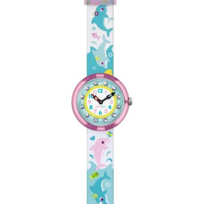 Childrens Flik Flak Cute Size Splashy Dolphins Watch FBNP035