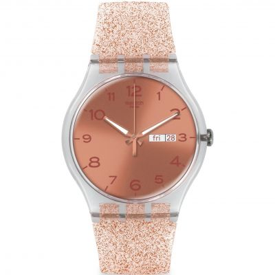 Unisex Swatch New Gent - Pink Glistar Watch SUOK703