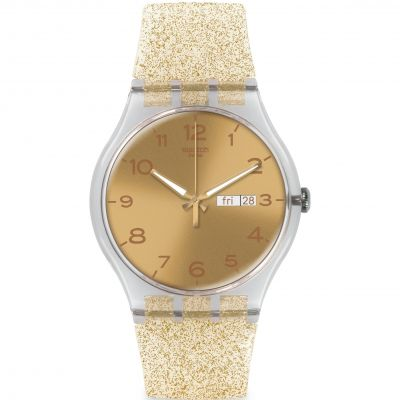 Swatch Originals New Gent New Gent - Golden Sparkle Unisexuhr in Gold SUOK704