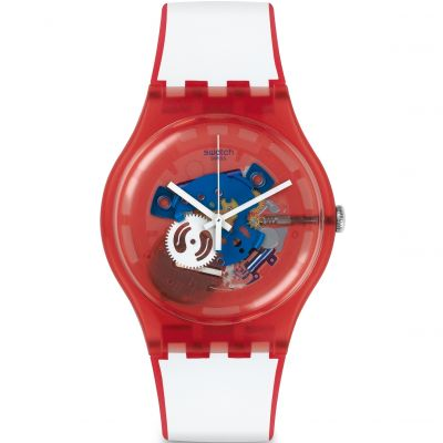 Swatch New Gent - Clownfish Red Unisex horloge Wit SUOR102
