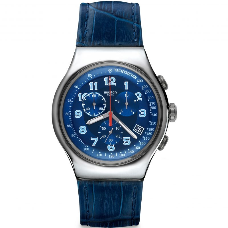 Mens Swatch Irony Chrono - Blue Turn Chronograph Watch