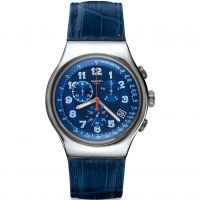 Mens Swatch Irony Chrono - Blue Turn Chronograph Watch