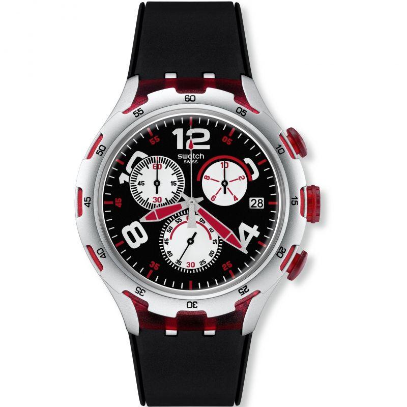 Mens Swatch Irony X-Lite - Red Wheel Chronograph Watch