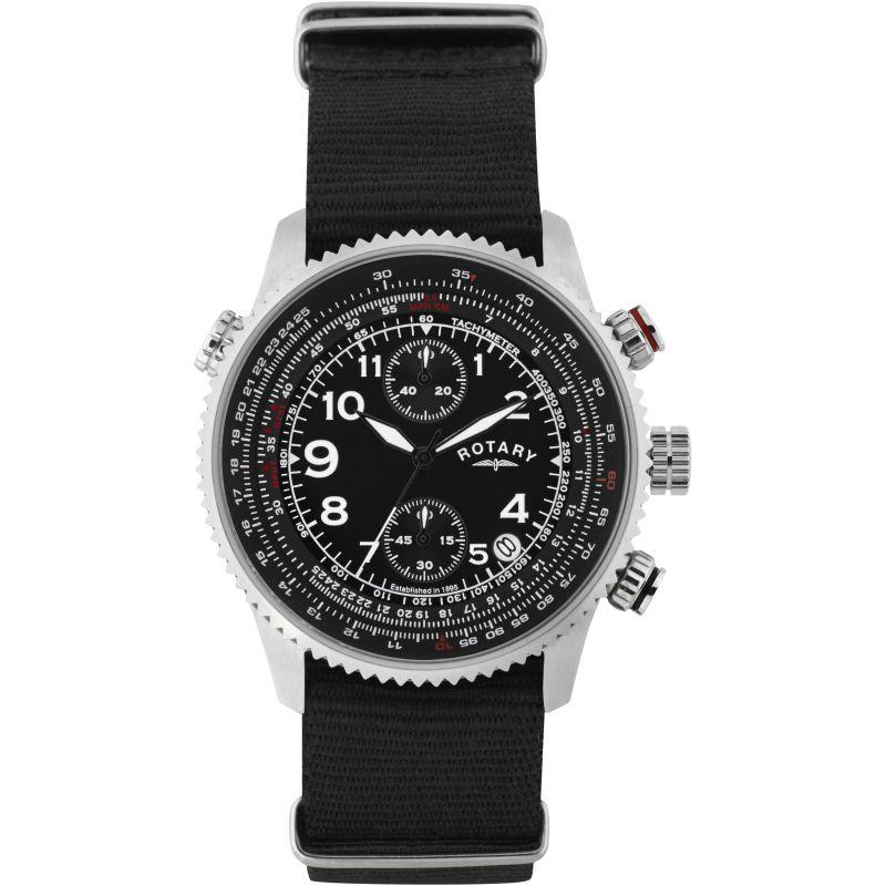 Mens Rotary Pilot Chronograph Watch