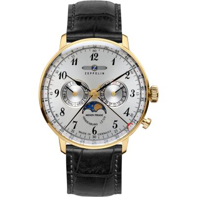 Zeppelin Hindenburg Moonphase Herenhorloge Zwart 7038-1