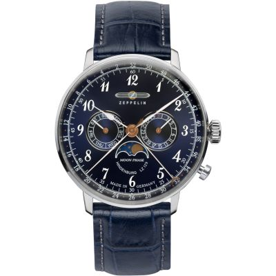 Zeppelin Hindenburg Moonphase Herenhorloge Blauw 7036-3