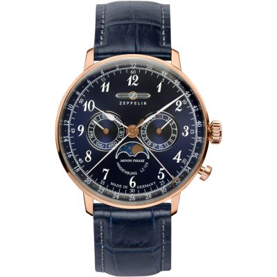 Zeppelin Hindenburg Moonphase Herenhorloge Blauw 7038-3