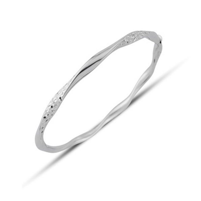 Jewellery 9ct White Gold White Gold Twisted Bangle