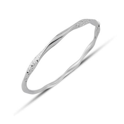 Bijoux Jewellery White Gold Twisted Bracelet