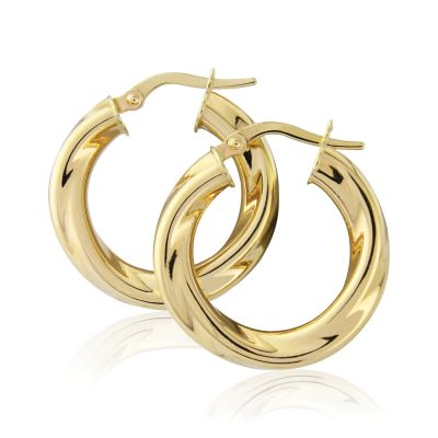 Jewellery Twisted Hoop Ohrringe 9 Karat Gold