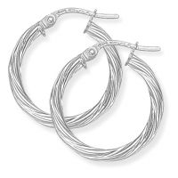 Jewellery 9ct White Gold White Gold Twisted Hoop Earrings