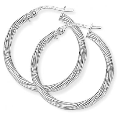 Jewellery White Gold Twisted Hoop Ohrringe 9 Karat Weißgold