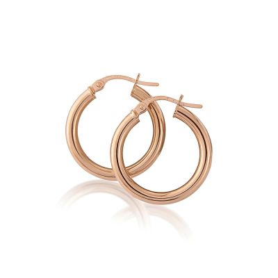 Jewellery Rose Gold Hoop Ohrringe 9 Karat Roségold