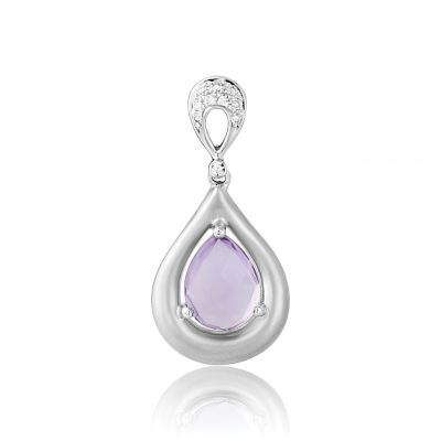 Jewellery White Gold Amethyst and Diamond Pendat. 9 Karat Weißgold