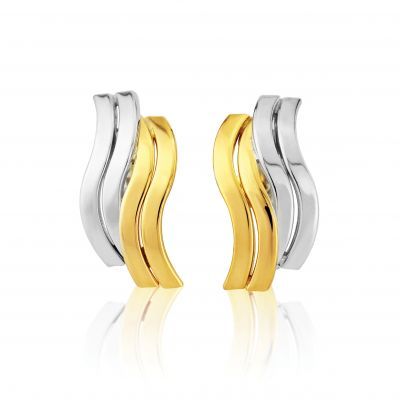 Jewellery White and Yellow Gold Stud Earrings Meerkleurig goud