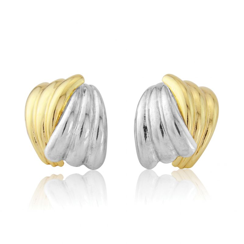 Jewellery Multi colour gold White and Yellow Gold Scallped Earrings
