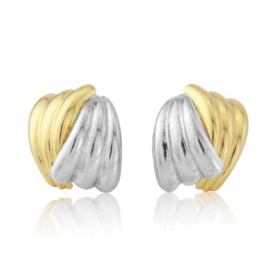 Jewellery White and Yellow Gold Scallped Earrings Meerkleurig goud