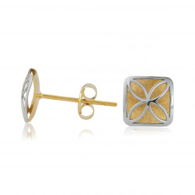 Jewellery White and Yellow Gold Filligreed Stud Earrings 9K Goud