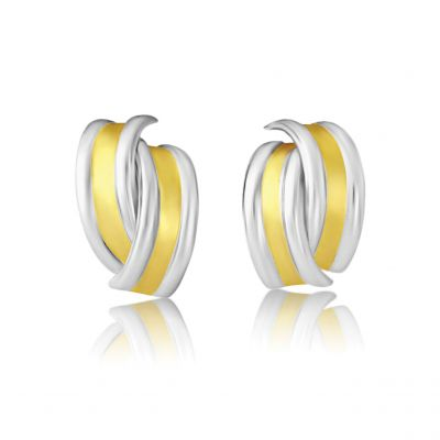 Joyería Jewellery White and Yellow Gold Stud Earrings