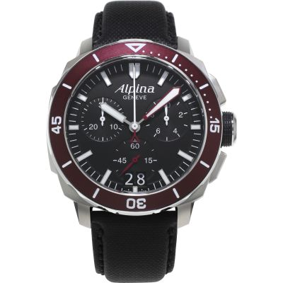 Mens Alpina Seastrong Diver 300 Chronograph Watch AL-372LBBRG4V6
