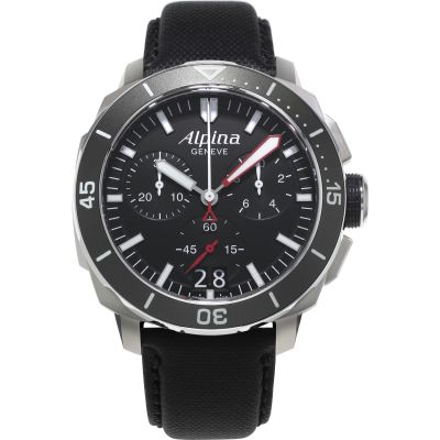 Mens Alpina Seastrong Diver 300 Chronograph Watch AL-372LBG4V6