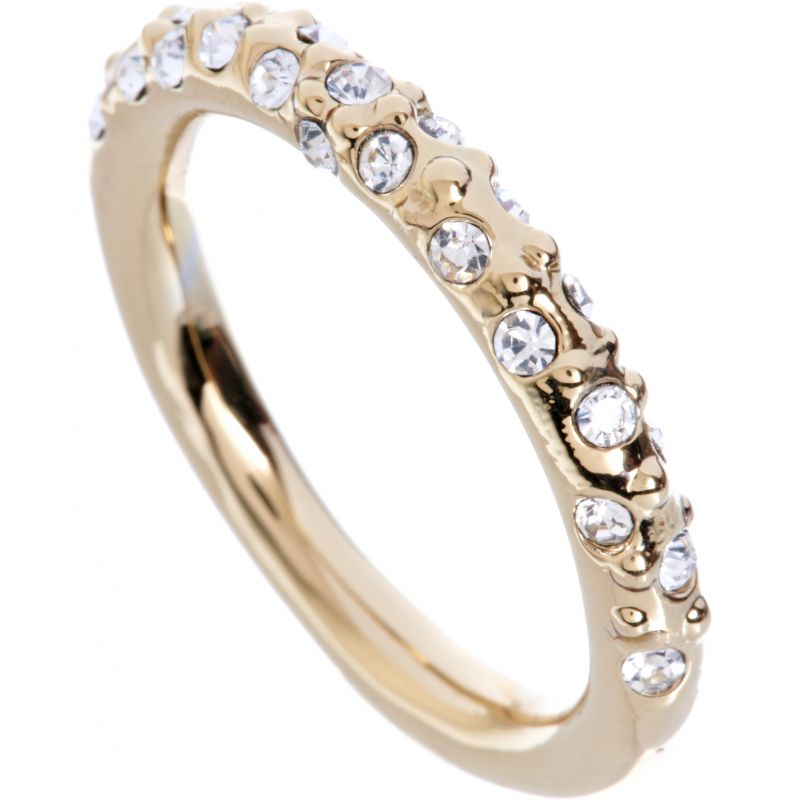 Ladies Karen Millen PVD Gold plated Crystal Sprinkle Ring Large KMJ607-22-02L