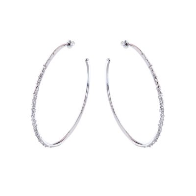 Joyería para Mujer Karen Millen Jewellery Crystal Sprinkle Large Hoop Earrings KMJ558-01-02