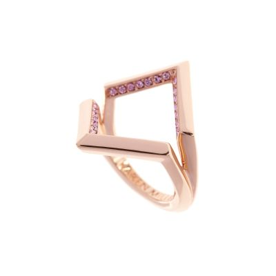 Karen Millen Dames Angle Crystal Ring Large PVD verguld Rose KMJ802-24-70L