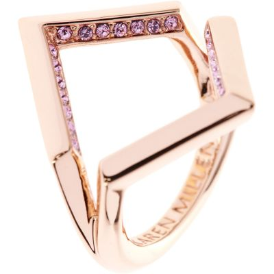 Ladies Karen Millen PVD rose plating Angle Crystal Ring Large KMJ802-24-70L