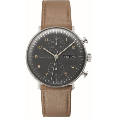 Junghans English Day Version max bill Chronoscope Herrenchronograph in Braun 027/4501.01