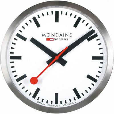 Mondaine 25cm Swiss Railways Wall Clock Unisexuhr in Silber A990.CLOCK.16SBB