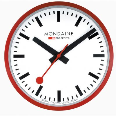 Mondaine 25cm Swiss Railways Wall Clock Unisexuhr in Rot A990.CLOCK.11SBC