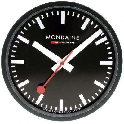 Mondaine 25cm Swiss Railways Wall Clock Unisexuhr in Schwarz A990.CLOCK.64SBB