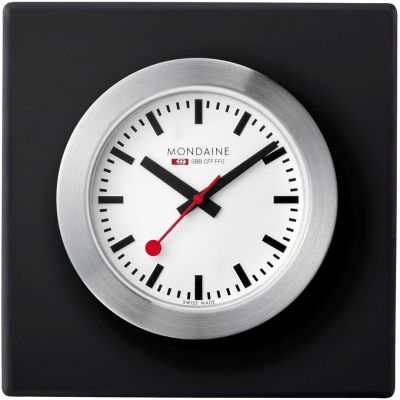 Mondaine 5cm Swiss Railways Desk Clock Unisexuhr in Schwarz A6603031884SBB