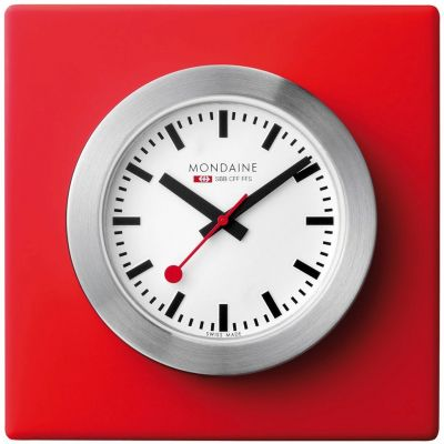 Mondaine 5cm Swiss Railways Desk Clock Unisexuhr in Rot A6603031884SBC