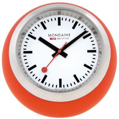 Mondaine 6cm Swiss Railways Desk Clock Unisexuhr in Orange A6603033516SBC