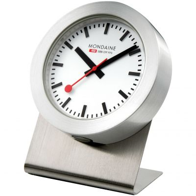 Mondaine 5cm Swiss Railways Magnetic Desk Clock Unisexuhr in Silber A6603031881SBB