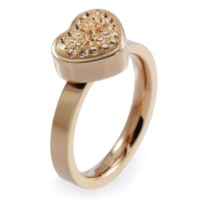 Ladies Folli Follie PVD rose plating Size P Bling Chic Ring 5045.3109